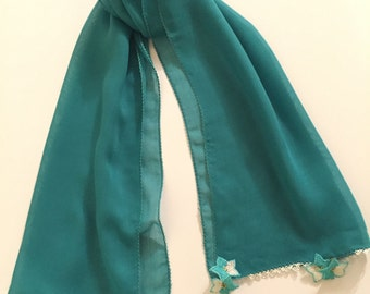 Turquoise Cotton Scarf. Turquoise Cotton Shawl with Turkish needle lace.