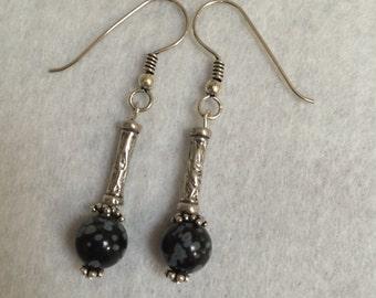Obsidian and Sterling Silver Drop Earrings