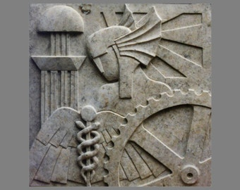 3 Keystone Reliefs: Merkur, Technique and Traffic in the style of Art déco, sandstone