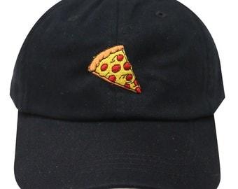 Capsule Design Pizza Cotton Baseball Dad Cap Black
