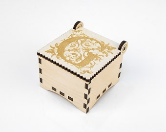 Wooden box, Small Secret Wood Box, (Engraved Letters - G), Gift Box With Lid, Jewelry box, Memory box