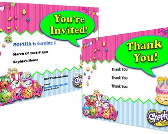 Shopkins Themed Customizable Birthday Invitations and Thank You Cards – Instant Download - Shopkins themed birthday printables
