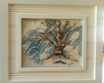 Watercolour Winter Scene, Framed in a White Cottage looking frame with matte