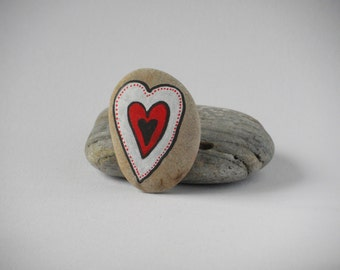 Natural painted pebble - heart black-red-white
