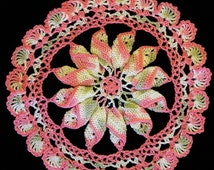 8 inch diameter 3-D1 doily in Strawberry and Woodrose