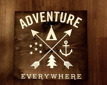 Adventure Everywhere Wood Sign