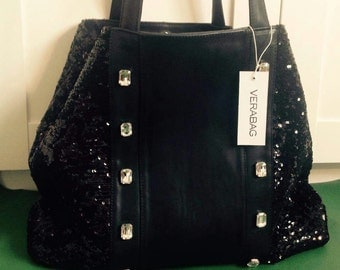 Leather and fabric bag with sequins