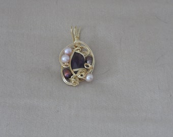 Amethyst and Pearl Wrapped in Gold