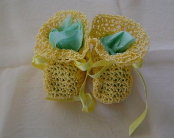 Bootie Call Answered with Crocheted Yellow Booties
