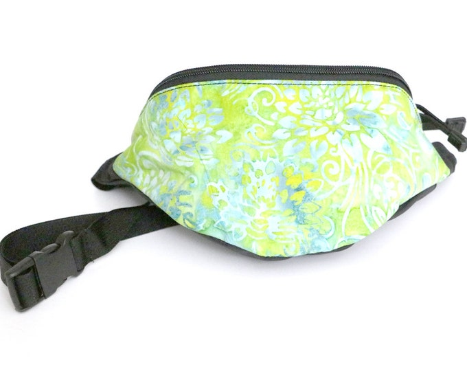 Fanny pack Green and Seafoam floral batik fabric  - Hip Waist Bag with 2-zippered compartments