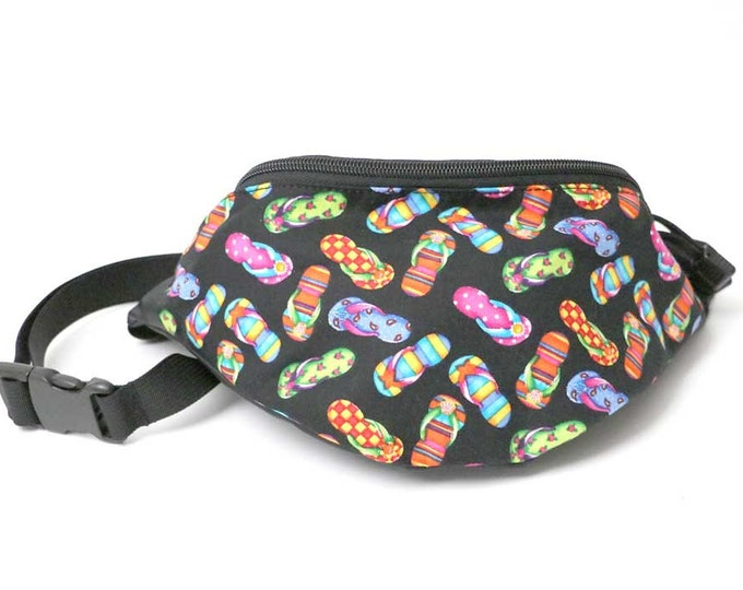 Fanny pack Flip Flop Sandal fabric - Cute  - Hip Waist Bag for travel, sport, and hiking 2-zippers