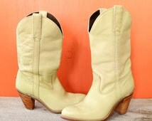 80s Capezio boots with stacked heels . womens western boots with high heels . 1980s cream cowboy boots size 7.5