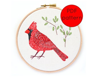Cardinal Bird Embroidery Pattern, PDF Instant Download
