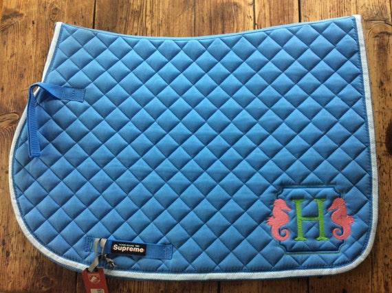 seahorse monogrammed saddle pad