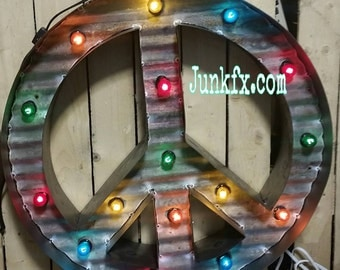 Marquee lighted Peace sign