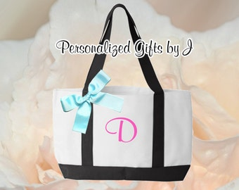 8 Personalized Monogrammed Tote, Custom Embroidered Tote Bag, Girls Night Out, Day at the Spa, Team Bride, 2- Color,  Bridal Party Gift