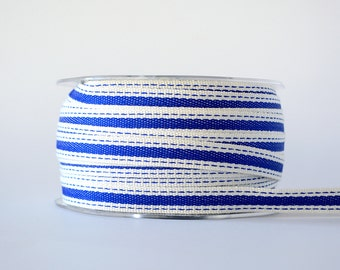 """Striped Ribbon 3/8"""" Wide Royal Blue with Ivory Border Ribbon - Woven Fabric Ribbon with Stitched Edge 5 Yards"""