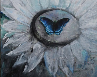 Blue Butterfly Original Mixed Media Painting