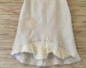 Shabby Chic Cream Doilie upcycled skirt/ vintage lace/ pockets/ Linen/ Eco hippie boho clothing Sz M