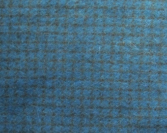 Hand Dyed Wool Fabric | Blue Checked Wool | Applique Wool