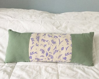 "Long Pillow - bolster cushion - green, white, lavender pillow (19.5""x7.5""x3.5"") nature inspired decor, linen pillow, long throw pillow"