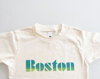 City of Boston Old School Font Kids Tee - blue green - size 6 / 6T