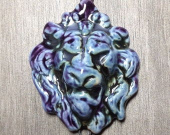 Large Sculptural Lion Ceramic Pendant Link in Lavender Iron