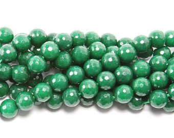 Emerald Green (Dyed) Jade Faceted Gemstone Beads