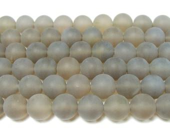 Gray Matte Agate Round Gemstone Beads