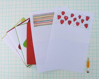 Red Strawberry Stationery Paper Set, lined letter writing paper, illustrated watercolor