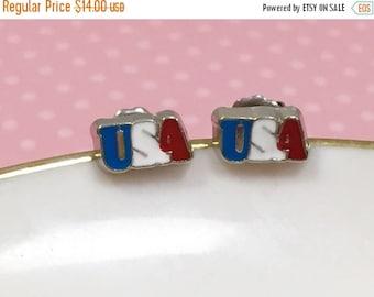 USA Stud Earrings, Tiny Patriotic Studs, Red White and Blue, Independence Day Studs, Fourth of July Earrings, Enameled Metal, KreatedByKelly