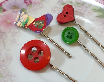 Bobby Pins Set, Christmas Stocking, Green and Red Buttons, Wood Heart, Holiday Hair Pins, KreatedbyKelly