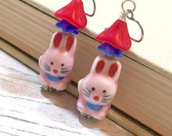 Pink Rabbit Earrings, Porcelain Rabbit Earrings, Czech Glass Flower Earrings, Spring Earrings, Easter Bunny Earrings, (DE1) SALE