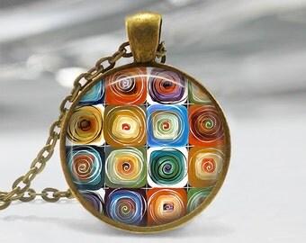 Original Abstract Art Pendant, Abstract Pendant ,Abstract Art Necklace, Abstract Art Jewelry, Original Art Necklace, Bronze, Silver, 354
