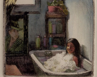 Bubble Bath Tub Original Framed Drypoint Art with Watercolor DelPesco