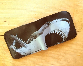 Shark Wallet For Men Black Leather