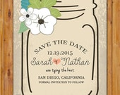 Save the Date Glass Jar Floral Invite Rustic Wedding 5x7 Digital JPG File (143)