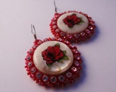 Red Rose Beaded Shell Earrings
