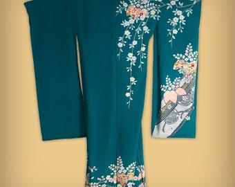 Vintage Teal Silk Japanese Furisode Karinui Kimono, Deadstock, Unfinished - Tall Size, Sakura, Ume Blossoms, Tachibana, Tsujigahana, Shibori