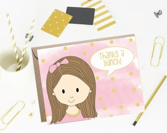 Note cards- Foldover Note Cards for Kids - Children Stationery- Tickled Pink- Set of 10