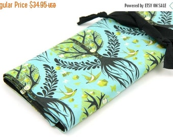 Sale 25% OFF Large Knitting Needle Case - Tree of Life - black pockets for all sizes, straight, circular or paint brushes.