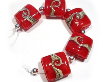 Red Silvered Ivory Twist Nuggets Handmade Glass Lampwork Beads