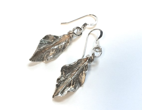 Foldformed silver romantic leafy rustic woodsy earrings