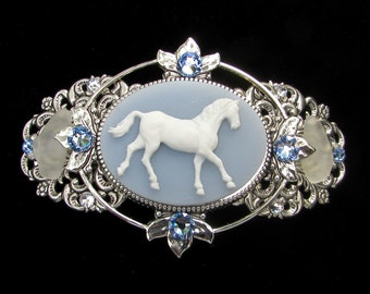 Barrette Blue and White Horse Cameo with Beach Glass and Crystal Accents