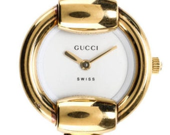 AUTH GUCCI Gold Plated Stainless Steel 1400L Thin Bangle Wrist Watch