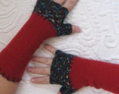 Fingerless Gloves . wool gloves . red fingerless wool gloves . made from recycled Sweaters .  red texting gloves