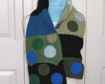 Felted Cashmere Scarf  . cashmere patchwork scarf . felted cashmere . made from repurposed Cashmere Sweaters . BLUE POLKA DOTS