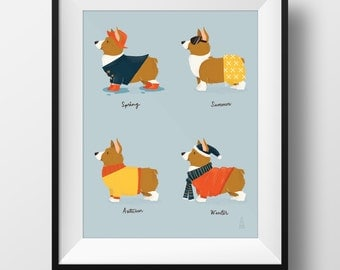 Fine Art Corgi Print - Seasonal Corgis Illustration