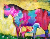 Original Horse Painting Mare & Foal by Caren Goodrich
