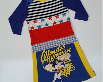 Size 14 (60 inch height) upcycled girls dress with print wonderwoman